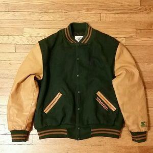 Retro STARTER. Leather Varsity Jacket